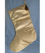 Gold fabric Christmas Stocking set 2 large clas... - $11.77