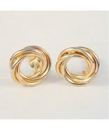 Vintage Clip On Circle Earrings Twist Swirl Sty... - $6.99