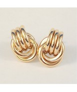 Vintage Clip On Earrings Polished Ribbed Style ... - $8.99