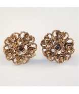 Vintage Clip On Earrings Detailed Flower Design... - $16.99