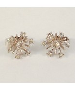 Vintage Clip On Earrings Rhinestone Snowflake S... - $16.99