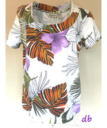 CHICO'S 1 knit TOP tropical PALM floral WHITE m... - $20.06