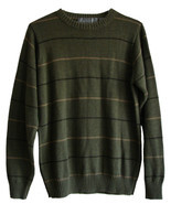 Oscar De La Renta Size M Long Sleeve Olive Green Striped Sweater