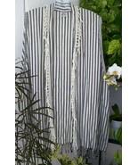 Vintage Laise Adzer Blk/White Striped Susti Fringe Vest - $44.99