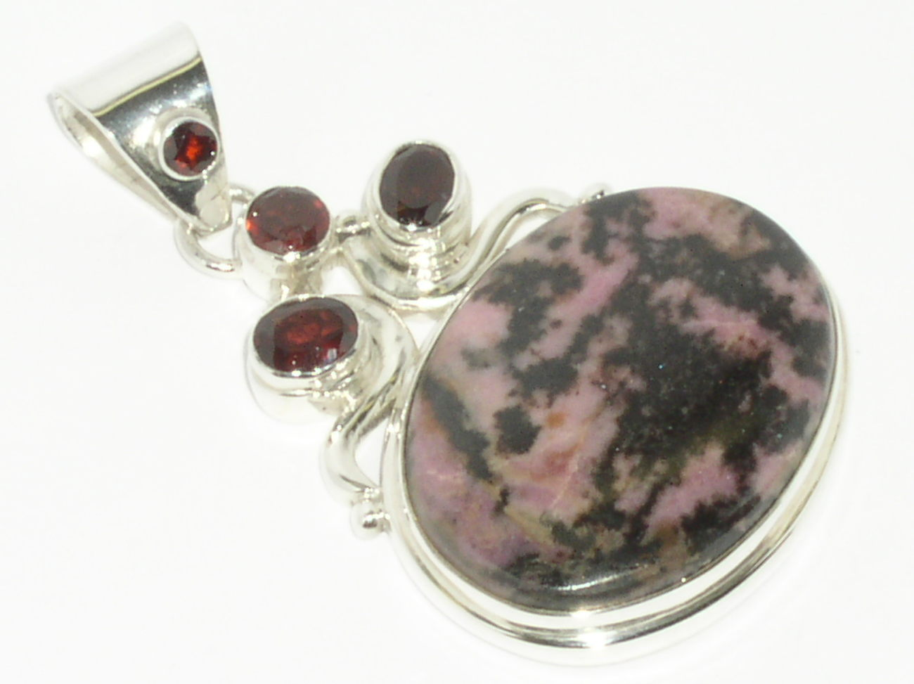 925 Sterling Silver Rhodonite Red Garnet Pendant