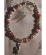 Breast Cancer Ribbon Pink Cat's Eye & Pearl Bra... - $24.95