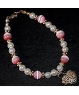 Pink Cat's Eye & Swarovski Pearl bead Bracelet... - $29.95