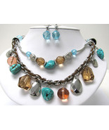 Double Row Turquoise Natural Stone and Glass Ba... - $25.00