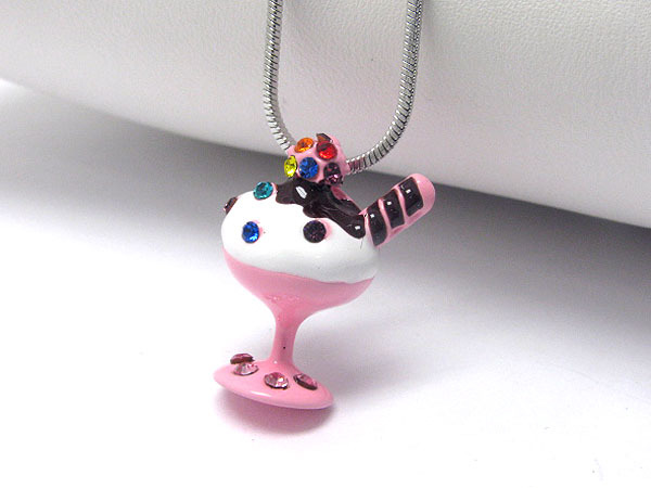 White Gold Plated Baby Pink Crystal Ice Cream Cup Pendant Necklace