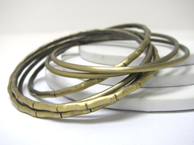 Multi Row Stackable Mixed Metal Brass 6 Bangle Set