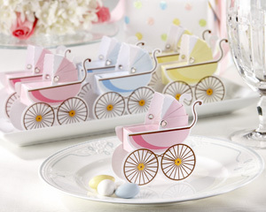 Classic Pram Favor Boxes with Unique Expandable Bonnets (Set