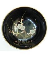 vintage black lacquer Japan bowl occupied cherries - $9.99