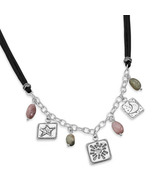 Tourmaline Necklace With Silver Charms - $219.99