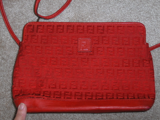 Fendi Red Logo Signature Handbag Purse