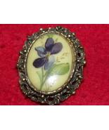 Vintage Brooch Gold Tone Porcelain Violet Filigree - $15.00