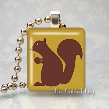 SQUIRREL WITH ACORN Scrabble Tile Art Pendant Charm