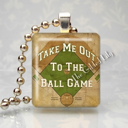 TAKE ME OUT TO THE BALLGAME BASEBALL Scrabble Pendant