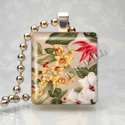 VINTAGE BARKCLOTH HAWAIIAN  FLOWERS Scrabble Pendant