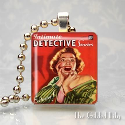 VINTAGE INTIMATE DETECTIVE STORIES Scrabble Art Pendant