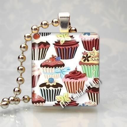 YUMMY CUPCAKES TREATS Scrabble Tile Art Pendant Charm