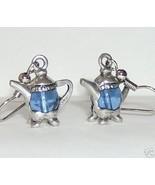 pewter tea pots with glass blue body earrings 3D - $19.00
