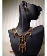 GENUINE AUSTRIAN Amber CRYSTAL JEWELRY SET Vict... - $13.00