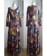 1970's Retro Floral Print Maxi Dress  - Navy Bl... - $44.88