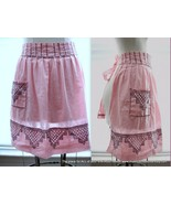 Vintage Pink and White Gingham Half Apron with ... - $14.88