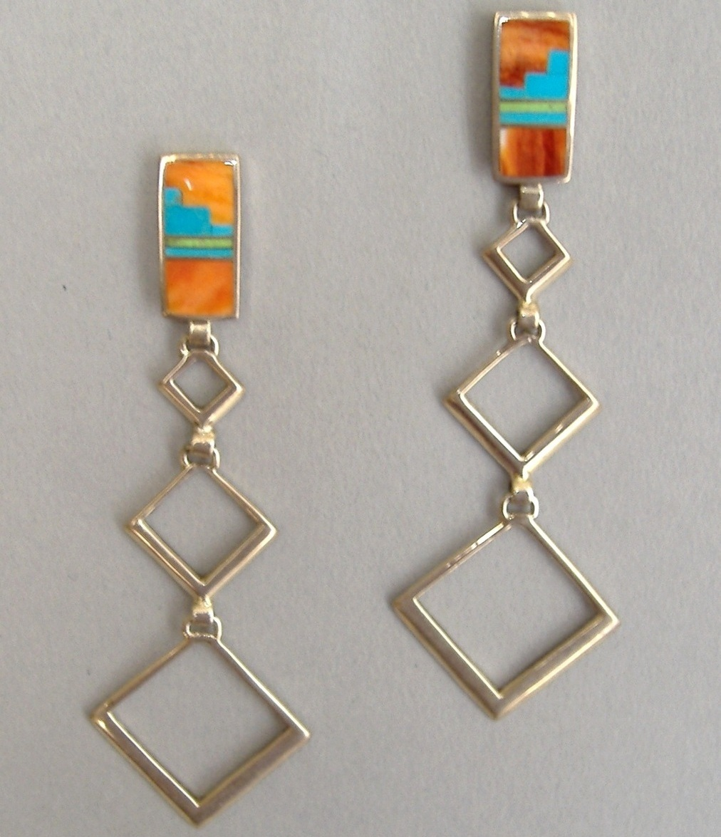 Long Dangle Earrings Native American Inlay Sterling Silver Turquoise Orange