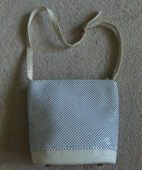 Whiting & Davis White Bucket Handbag Purse