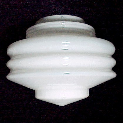 Art Deco White Glass 4 X6 X 8 Pendant Light Shade Globe
