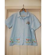 Jane Ashley Woman Shirt Plus Size 2X Blue Embellished - $10.00