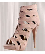 Taupe Lace Up Multi-Strap High Heel  - $40.00