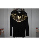 Victoria Harbour Black Gold, Glitzy and Jeweled Holiday Sweater Size L - $36.00