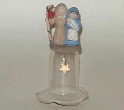 Christmas Jesus Mary Joseph Holy Family Nativity Figurine Glass Bell