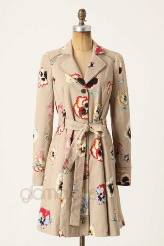 NWT $198 Anthropologie Floral Pansy Corset Trench Coat by Elevenses sz.14