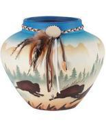 Indian Buffalo  Pot  With leather and Feathers - $19.85