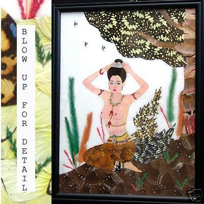 Asian Real Butterfly Collage Original Thai Art 8594