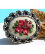 Vintage Needlepoint Embroidered Brooch Pin Peti... - $24.95