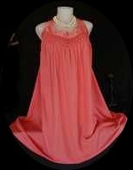 60's Deep Coral Lush Rayon Loose Fit Nightie Ruched Pleats Vintage Lingerie