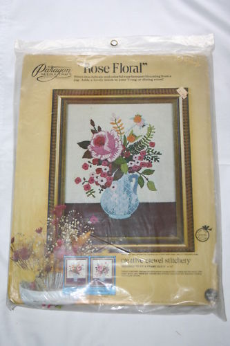 Paragon ROSE FLORAL Crewel Embroidery Stitchery Kit