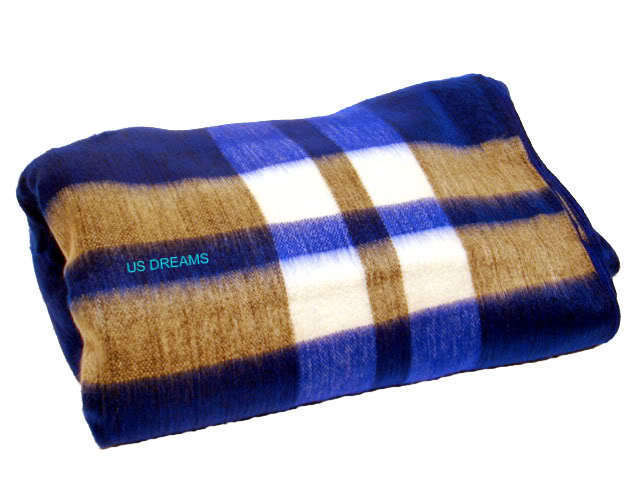 NEW ALPACA BLANKET ROYAL BLUE STRIPED QUEEN FULL THROW