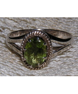 Sterling Silver Peridot Prong Set Ring size 6 3/4 - $25.00