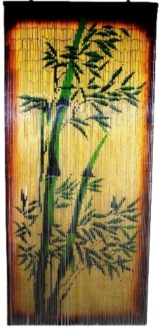 Bamboo Beaded Door Curtain-Green Bamboo Plant Scene