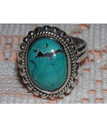 Turquoise Cabochon and Sterling Silver Ring siz... - $19.00