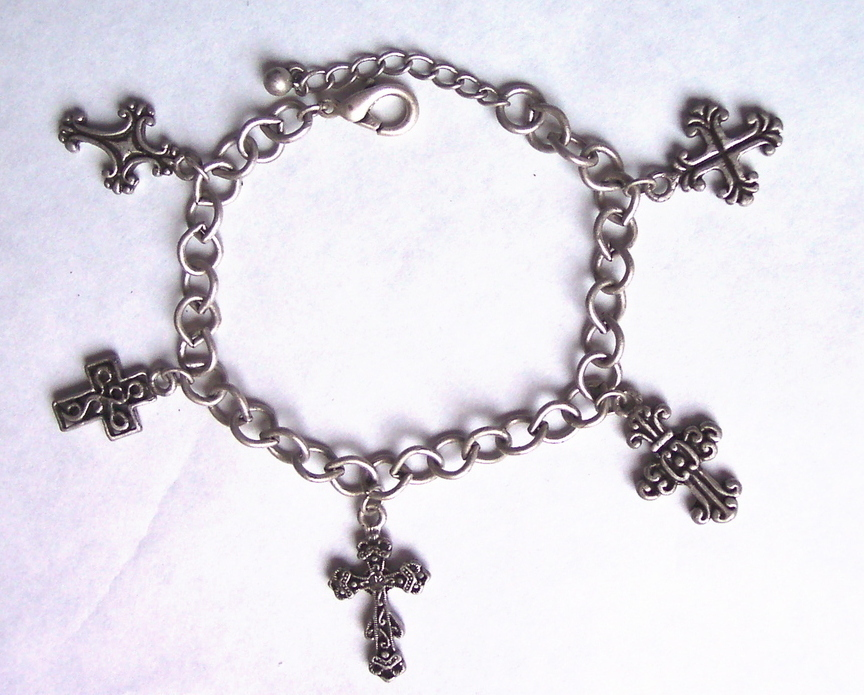 Cross Bracelet Peweter color Rhinestone
