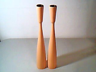 Vintage Danish Modern Tall Wood Candlesticks PM Denmark