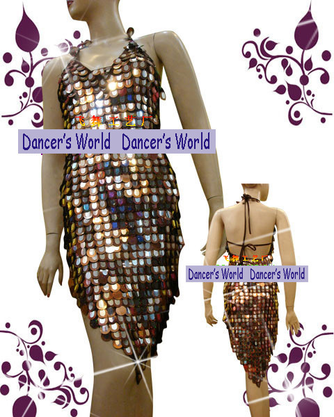 Latin Salsa Sequin Halter Dance Dress Dance Skirt Copper