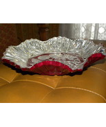 Bowl Gooofus Glass 10 Inch Clear Silver Red Hex... - $25.00