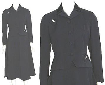 1940s Vintage Gabardine Dress Suit